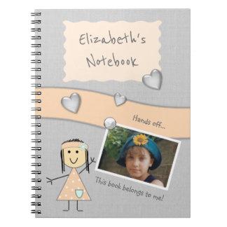 Personalisierter Kinderpfirsich und graues Foto Spiral Notizblock