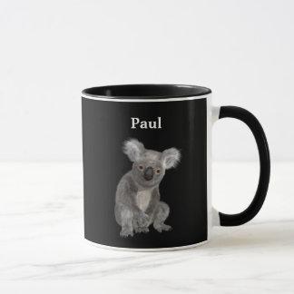 Personalisierter Koala auf Schwarzem Tasse