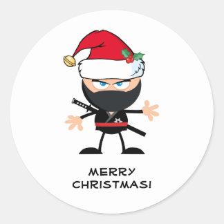Personalisierter Krieger Weihnachtsmanns Ninja Runder Aufkleber