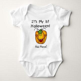 Personalisierter Kürbis-1. Halloween-Strampler Baby Strampler