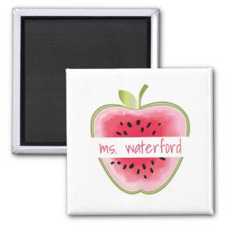 Personalisierter Lehrer Wassermelone-Apples Quadratischer Magnet