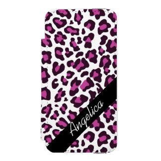 Personalisierter Leopard-Druck-lila und schwarzer Incipio Watson™ iPhone 5 Geldbörsen Hülle