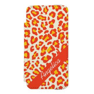 Personalisierter Leopard-Druck-orange Gelb-Kasten Incipio Watson™ iPhone 5 Geldbörsen Hülle
