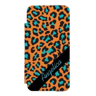 Personalisierter Leopard-Druck-orange schwarzer Incipio Watson™ iPhone 5 Geldbörsen Hülle