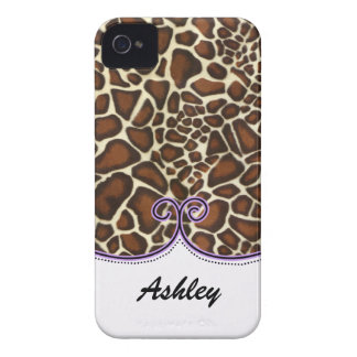 personalisierter Leoparddruck lila trendy iPhone 4 Cover