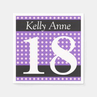 Personalisierter lila 18. Geburtstags-rosa Papierservietten