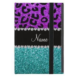 Personalisierter lila Cheetahtürkis-NamensGlitter iPad Mini Schutzhüllen