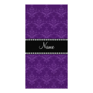 Personalisierter lila Namensdamast Photogrußkarten
