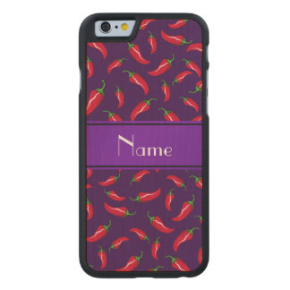 Personalisierter lila roter Chilinamenspfeffer Carved® iPhone 6 Hülle Ahorn