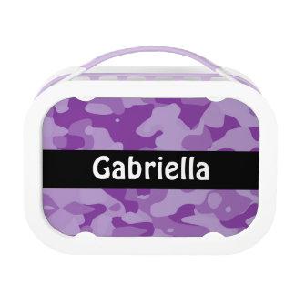 Personalisierter lila Tarnungs-Mittagessen-Kasten Brotdose