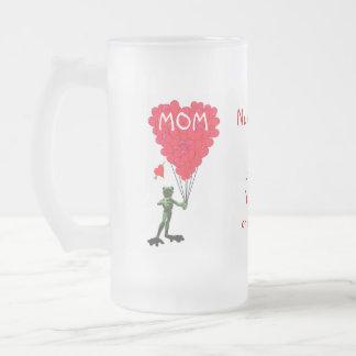 Personalisierter lustiger Froschmuttertag Mattglas Bierglas