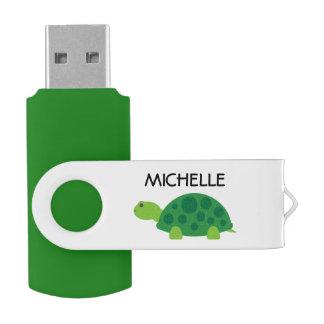 Personalisierter lustiger grüne Schildkröte Swivel USB Stick 2.0