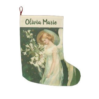 Personalisierter Mädchen-Engel mit Blumen Großer Weihnachtsstrumpf