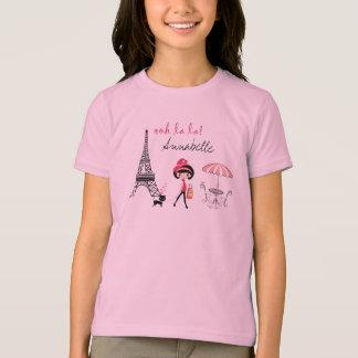 Personalisierter Mädchen-und Katzen-Paris-T - T-Shirt