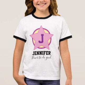 Personalisierter MädchenSuperhero mit Initiale und Ringer T-Shirt