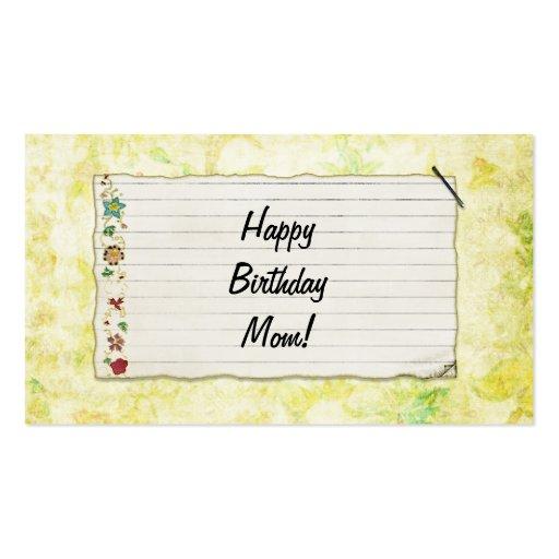 Personalisierter Mammageburtstag Blumen-Aufkleber Visitenkarten Vorlage