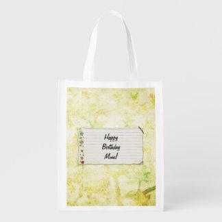 Personalisierter Mammageburtstag Blumen-Aufkleber Wiederverwendbare Tragetasche