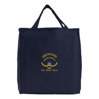 Personalisierter Matrose- und Bootsname Bestickte Tasche
