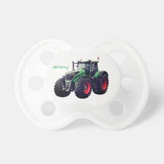 Personalisierter moderner grüner Bauernhof-Traktor Schnuller
