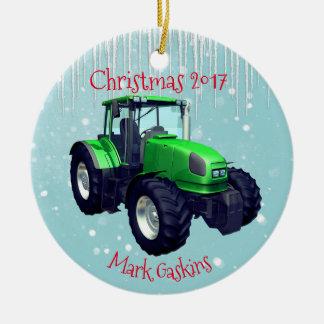 Personalisierter moderner grüner Traktor Keramik Ornament