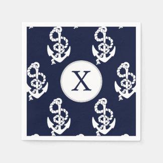 Personalisierter Monogramm-Marine-Blau-Anker Serviette