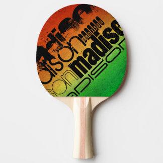 Personalisierter Name auf orange Neongelb u. Grün Tischtennis Schläger
