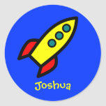 Personalisierter Name - Cartoon-Rocket-Schiff Aufkleber