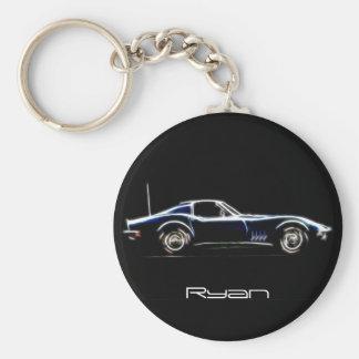 Personalisierter Name Chevrolet Corvette 1968 Keyc Standard Runder Schlüsselanhänger