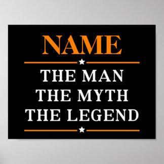 Personalisierter Name der Mann der Mythos die Poster
