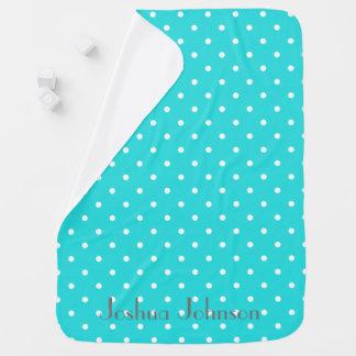 Personalisierter Name des blauen u. weißen Punkts Babydecke