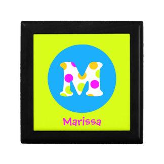 Personalisierter Name M und Anfangsmädchen-Schmuck Kleine Quadratische Schatulle