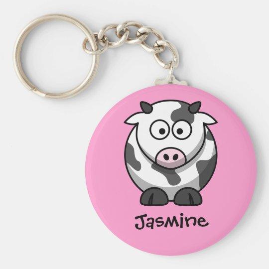 Personalisierter Name - niedliche Cartoon-Kuh Schlüsselanhänger
