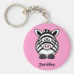 Personalisierter Name - niedlicher Zebra Keychain Schlüsselband