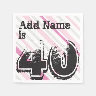 Personalisierter Name Rosa 40 Jahres Bday - 40. Papierserviette