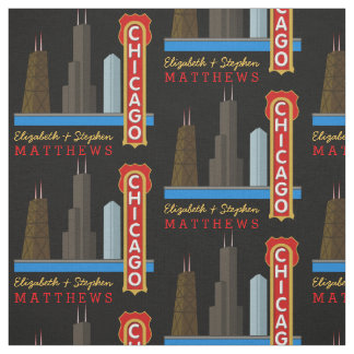 Personalisierter Namen-Chicago Illinois Skyline Stoff