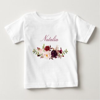 Personalisierter Namensbaby-MädchenWatercolor Baby T-shirt