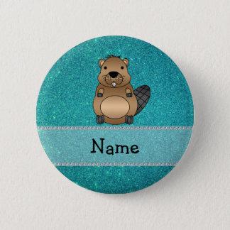 Personalisierter Namensbibertürkis-Glitter Runder Button 5,7 Cm