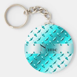 Personalisierter Namensblauer Diamantplattenneonst Schlüsselanhänger