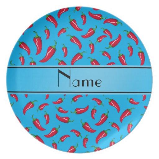 Personalisierter NamensChilipfeffer des blauen Party Teller