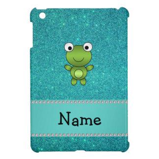 Personalisierter Namensfroschtürkis-Glitter iPad Mini Schale