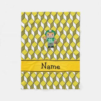Personalisierter Namensfußballspieler-Gelbwürfel Fleecedecke