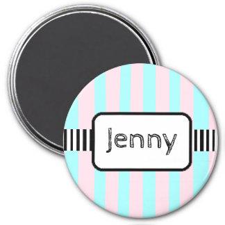 Personalisierter Namensmagnet-rosa und blaue Runder Magnet 7,6 Cm