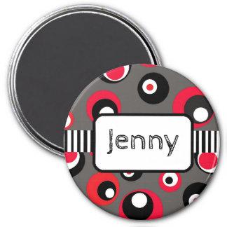 Personalisierter Namensmagnet-rote und schwarze Runder Magnet 7,6 Cm