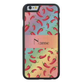 Personalisierter Namensregenbogen-Chilipfeffer Carved® iPhone 6 Hülle Ahorn