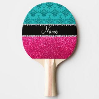 Personalisierter Namenstürkisdamast-Rosa-Glitter Tischtennis Schläger