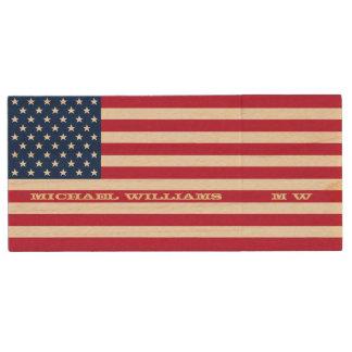 Personalisierter NamensUSB amerikanische Flagge Holz USB Stick 2.0