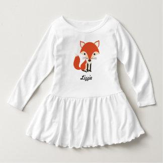 Personalisierter niedlicher Fox- u. Blätter-Herbst Kleid
