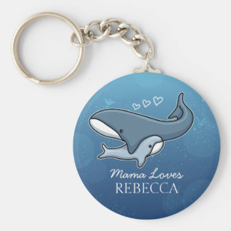 Personalisierter niedlicher Mamma-Baby-Wal, Schlüsselanhänger