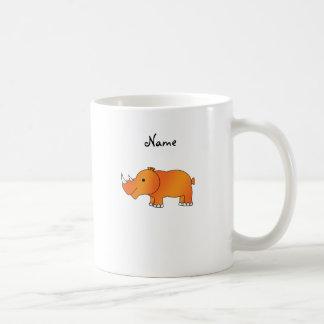 Personalisierter orange Namensrhino Kaffeetasse
