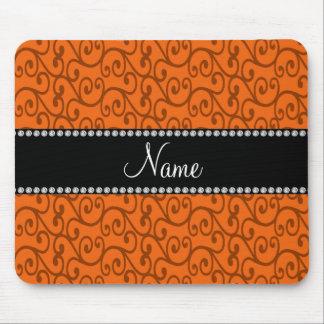 Personalisierter orange NamensWirbel Mousepad
